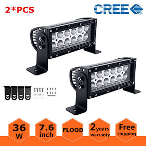 2x 8inch 36w Led Work Light Bar Flood Beam Offroad Driving Lamp Ford Atv Suv 4wd