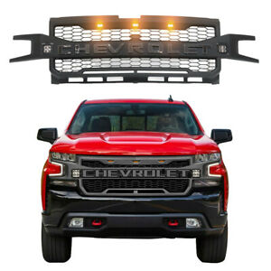 Front Grille Black Grill For Chevrolet Silverado 1500 2019 2020 With 5 Led