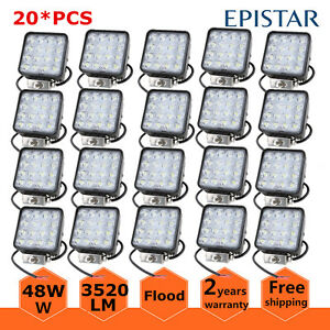 20x 48w Led Work Light Square Spot Driving Fog Lamp Atv Car Boat Suv Ute Truck