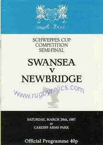 SWANSEA v NEWBRIDGE 1987 SCHWEPPES CUP COMPETITION SEMI FINAL RUGBY PROGRAMME GBP 5.99