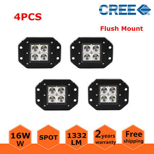 4pcs 16w Led Work Light Square Flush Mount Spot Beam Atv Offroad Fog 4wd Boat