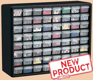 Parts Storage Cabinet 64 Drawer Bins Garage Nuts Bolts Organizer Workshop Office