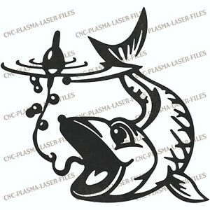 Fishing Fish Dxf Sign Plasma Laser Waterjet Router Plotter Cut Vector Cnc