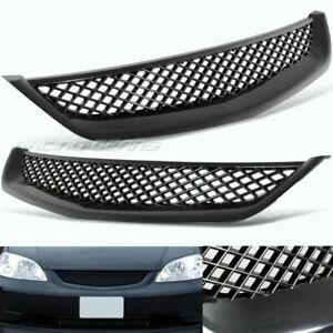 Fit 2001 2003 Honda Civic Type r Style Black Mesh Abs Front Hood Grille Grill