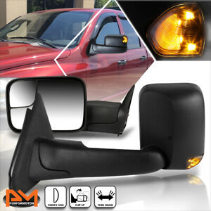 For 02 09 Dodge Ram 1500 3500 Manual Telescoping Towing Mirror Led Signal Black