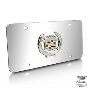 Au tomotive Gold Cadillac Classic Logo Chrome Stainless Steel License Plate
