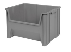Heavy Duty Stackable Open Front Plastic Storage Container Bin Gray 3 Pack 3 6 Lb