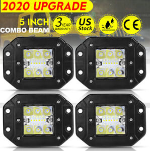 4x 5 In Flush Mount Led Light Pods Spot Flood Driving Rear Truck Fog Lights 12v