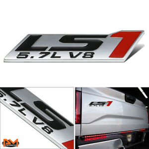 5 7l Ls1 polished Metal 3d Decal Black red Emblem Sticker For Chevrolet pontiac