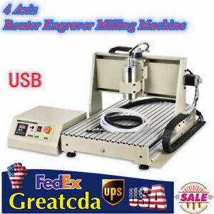 Usb 4 Axis Cnc 6040 Router Engraver Metal Engraving Milling Machine 3d Cutter Us