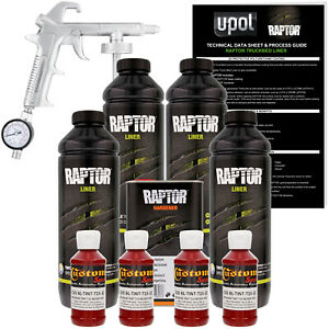 U Pol Raptor Tintable Blood Red Spray On Truck Bed Liner Spray Gun 4 Liters
