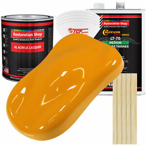 School Bus Yellow Acrylic Lacquer Gallon Auto Paint Kit Medium Thinner