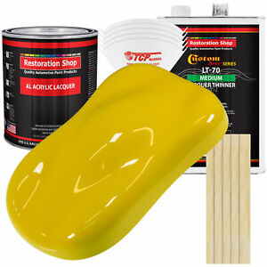 Electric Yellow Acrylic Lacquer Gallon Auto Paint Kit Medium Thinner