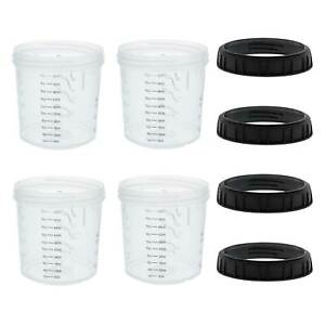 4pk Mps 20 Ounce 600ml Hard Cups Retainer Rings For Disposable Spray Gun Cup