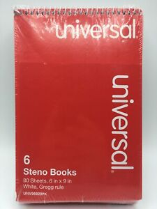 Universal Steno Book Gregg Rule 6 X 9 Green 80 Sheets pad 6 Pads pack 86920pk