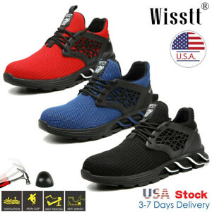 Us Indestructible Safety Work Shoes Steel Toe Boots Lightweight Sneakers Mens