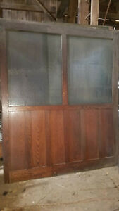 2 Large Vtg Oak Privacy Glass Interior Wall Panel Room Divider Architectural