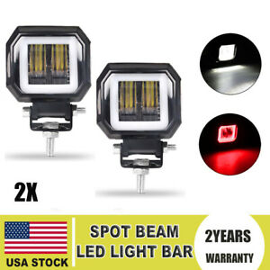 2pcs 3 Led Work Light Bar Spot Pods Driving Fog 6000k Red Halo Atv Truck 4wd