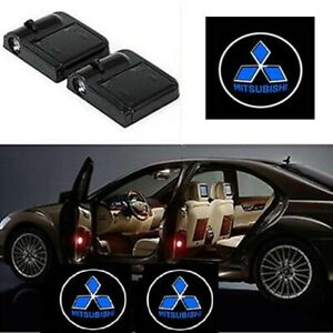 2pcs Wireless Led Car Door Welcome Logo Projectors Lights For Mitsubishi Blue