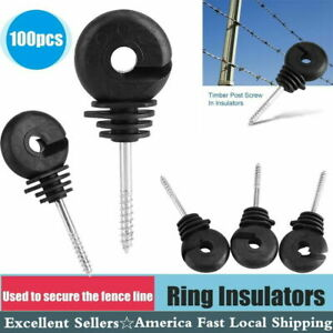 100x Screw In Offset Electric Fence Wood Timber Post Insulators Tape Cord Wire