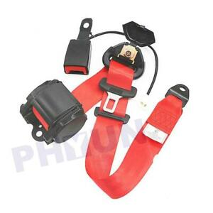3 Point Retractable Red Car Safety Seat Belt Strap With Warning Cable Usa