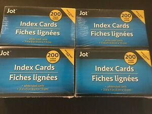 Jot Index Card Office Supply Lot Of 4 White Rules Cards 200 Per Pack New
