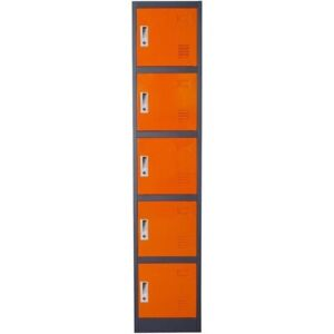 Metal Storage Locker Cabinet With Five Storage Compartments And Key Lock Entry