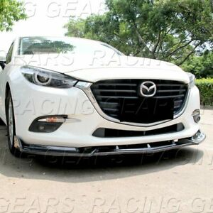 Fit 2014 2018 Mazda 3 Alexa Carbon Style Front Bumper Body Kit Spoiler Lip 3pcs