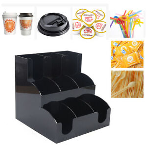 Coffee Cup Dispenser Condiment Caddy Lid 9 Racks Cup Holder Organizer Us Ship