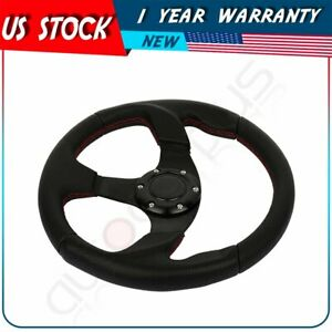Black 320mm Lightweight 6 bolt Leather Racing Steering Wheel Horn Button