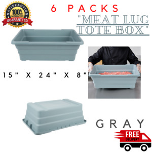 6 Pack Commercial Meat Lug 15 X 24 X 8 Storage Food Tote Processing Tub Bin