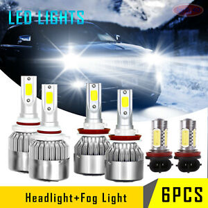 For 2014 2017 Jeep Grand Cherokee Led Headlight Hi lo fog Light Combo Bulbs