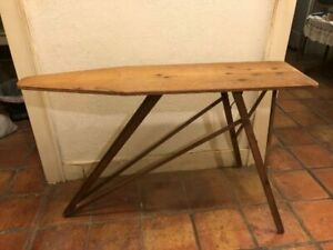 Vintage Antique Wooden Ironing Board Folding Table Primitive Mid Century