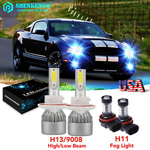 For Ford Mustang 2005 2012 8000k H13 Led Headlight High low Fog Light Bulbs