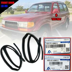 Front Door Window Glass Channel Run Rubber Seal For Toyota Land Cruiser Fj80