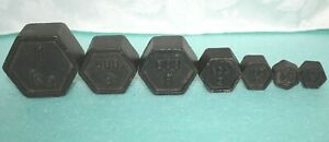 Vintage Antique 7 Solid Cast Hexagon Weights For Balance Scale