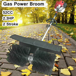 2 Stroke 52cc Gas Power Sweeper Hand Held Broom Cleaning Driveway Turf Grass Usa