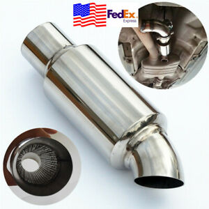 Stainless Weld 2 To 2 Exhaust Downpipe Chamber Sound Tuning Car Muffler Pipe Us