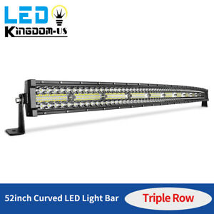 52 Inch 1250w Curved Led Light Bar Tri row Driving Off road Combo Drl Fog 54