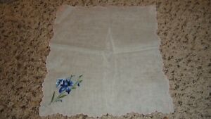 Lovely Ladies Vintage Blue Flower Handkerchief With Pink Embroidery