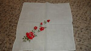 Lovely Ladies Vintage Red Roses Embroidered Handkerchief