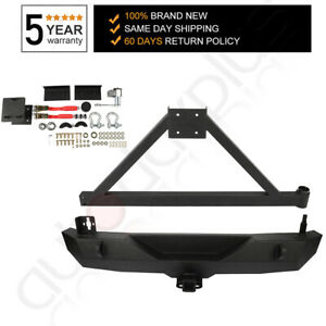 Heavy Duty Rear Bumper With Tire Carrier D ring For Jeep Wrangler 07 18 Jk