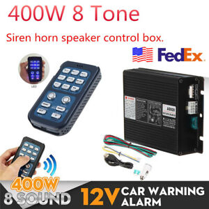400w Car Warning Alarm Fire Siren Horn Speaker Pa System Control Host New