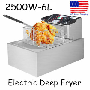 6l Electric Deep Fryer Commercial Countertop Basket French Fry Family