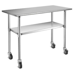 Stainless Steel Mobile Kitchen Prep Work Table With 4 Wheels Sliver