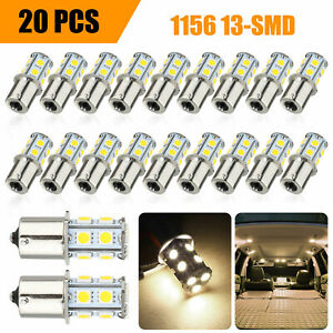 20x Warm White 1156 1141 13 Smd Rv Camper Trailer Led Interior Light Bulbs 12v