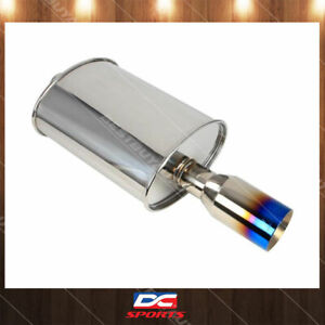 Dc Sports Oval Muffler W 4 Straight Blue Tip Inlet 4