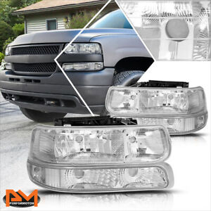 For 99 02 Chevy Silverado 00 06 Suburban Bumper Headlight lamp Clear Side Chrome
