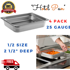Deep Stainless Steel Hotel Steam Table Food Pans 4 Pack Half Size 2 1 2