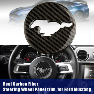 Real Carbon Fiber Steering Wheel Trim Cover Sticker For Ford Mustang 2015 2017